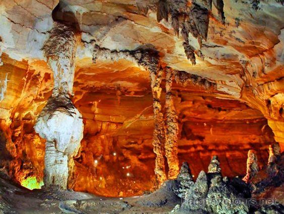 Stalactite pilar in Sung Sot cave