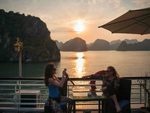 sunset on halong aclass legend cruise